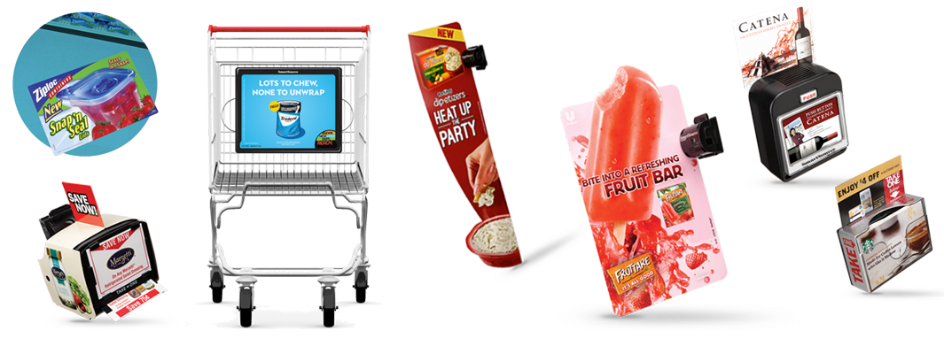 SmartSource floor ads, shelf signs, coupon machines and cart ads