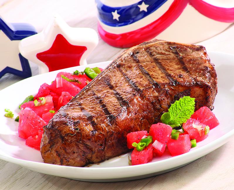 Bonein KC strip steak red white and blue starts pitcherHH0413