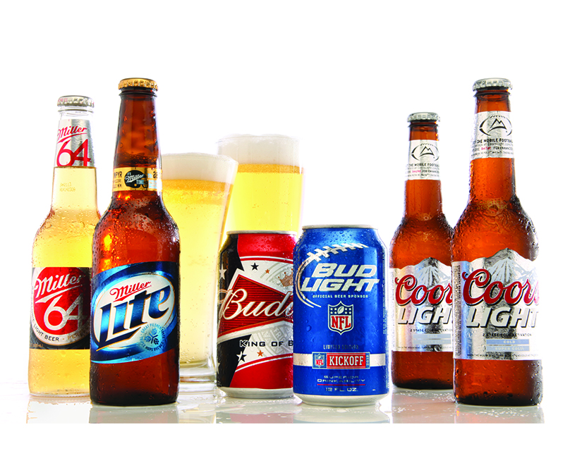 Miller lite bottles Bud Cans and Coors bottles